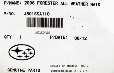 SUBARU Genuine J501SSA110 All Weather Mats Forester 1 Pack