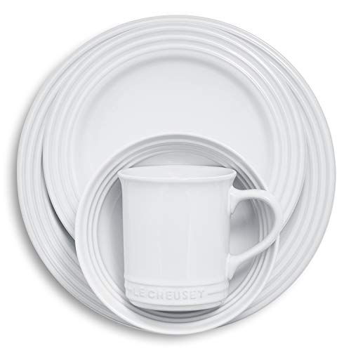 Le Creuset of America PGWSV16-0316 Dinnerware Set, 16 Piece, White