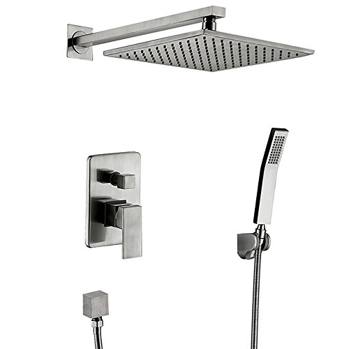 Wall Mounted Rain Mixer Shower Combo Set Handheld Spray 8-inch Rainfall Showerhead Bathtub Shower Faucet System Brushed Nickel Finish