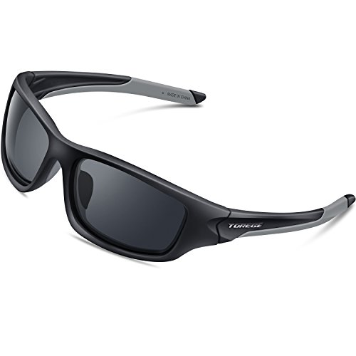 Torege Polarized Sports Sunglasses For Man Women Cycling Running Fishing Golf TR90 Unbreakable Frame - Mens Wrap Sunglasses