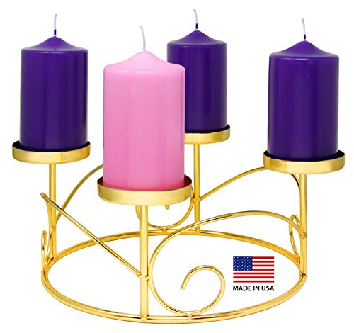 Christmas Advent Wreath Ring Candle Holder for Pillar Advent Candles Gold -Advent Season X-mas Advent Candle Centerpiece Decor - Advent Calendar Decoration