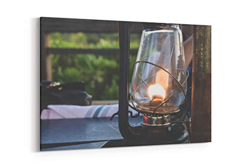 - Dinner Lantern Oil Lamp and Flame in Turks and Caicos Islands - Canvas Wall Art Gallery Wrapped 18