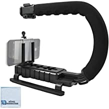 Professional Video Stabilizing Grip + eCostConnection Universal Tripod Smartphone Mount fits Virtually All Phones + Microfiber Cloth