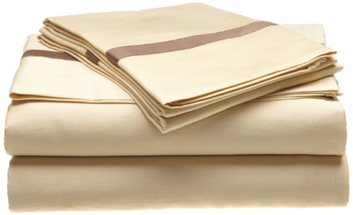 Superior 300 Thread Count 100% Cotton, Hotel Collection, Deep Pocket, Single Ply, Queen Bed Sheet Set, Honey with Mocha Duvet Cover Honey
