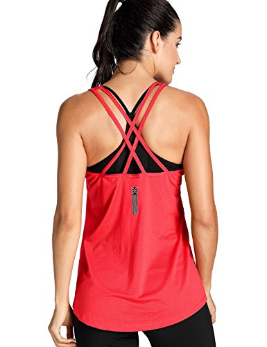 Meliwoo Women's Activewear Cool Mesh Workout Tank Tops With Cross Back Red M