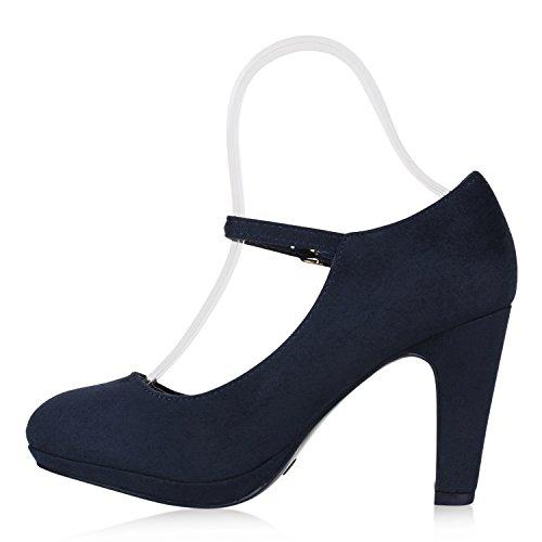 Fermées Bleu Foncé Femme Coupe Stiefelparadies qwBf41B