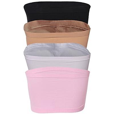 Fasoar Women's Bandeau Bra, Strapless Seamless Padded Bandeau Tube Bra Top 2-4 Pack