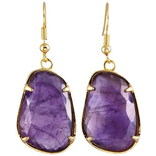 TUMBEELLUWA Stone Dangle Earrings Healing Crystal Irregular Shape Faceted Hook Drop Earring Handmade Jewelry for Women,Amethyst (Amethyst Earrings For Men)