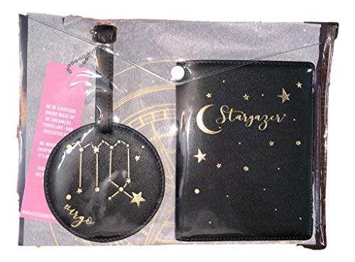 Hang Accessories Celestial Horoscope Astrology Zodiac 3 Piece Travel Set - Luggage Tag, Passport Wallet and Document Clutch (Virgo)