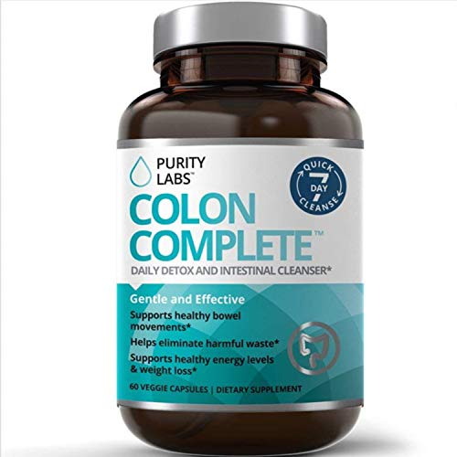 Purity Labs Colon Complete Cleanse and Detox - Ultimate Super Cleansing Weight Loss and Natural Belly Fat Burner, 60 Veggie Capsules