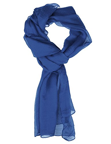 Blue Silk Long Scarf - 4