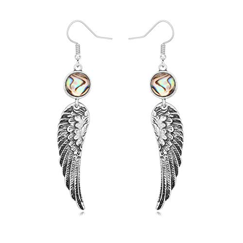 Antique Silver Angel Wings Natural Round Abalone Shell Drop Hook Earrings (Angel Round Earrings)