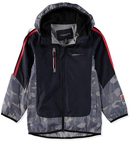 London Fog Boys' Colorblocked Jacket (8, Navy/Blue Camo)