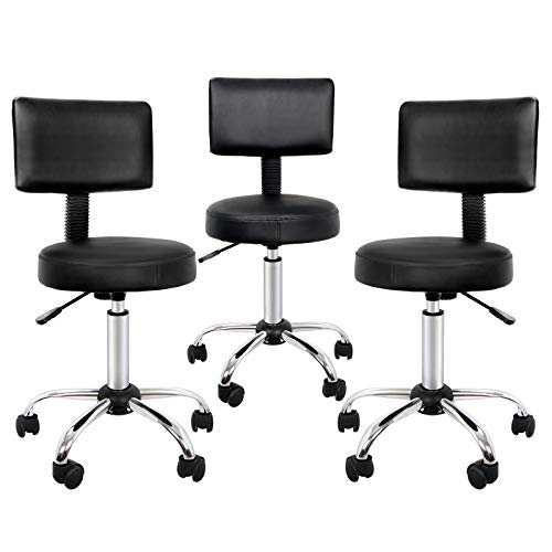 SUPER DEAL Newly Designed Adjustable Medical Salon Stool with Backrest Beauty Salon Swivel Massage Lift Manicure Chair (3PC)