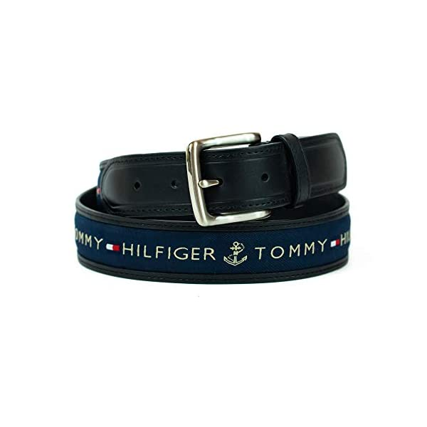 Tommy Hilfiger Men's Ribbon Inlay Belt – Ribbon Fabric Design with Single Prong Buckle