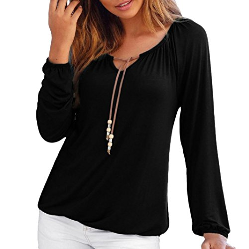 iTLOTL Women V Neck Solid Tops Bowknot Daily Leisure Bottoming Long Sleeve (Black ,US-18/CN-XXL)