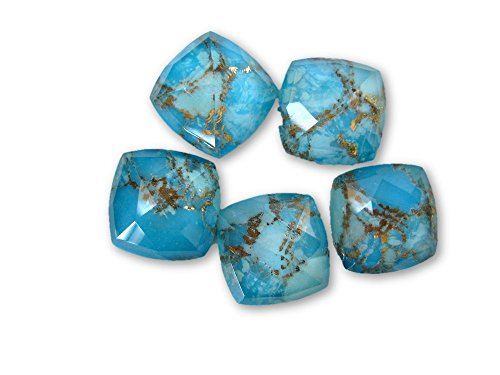 4 Pieces Blue Copper Turquoise Doublet Flat Back Gemstone Cabochon, GDS1048/11 (8x8x5mm,2.05gms(Cushion)) (Turquoise Doublet)