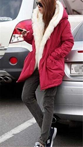 Manica Giaccone Incappucciato Addensare Outdoor Invernale Donne Rot Pelliccia Outerwear Giacca Lunga Parka Sintetica Caldo Invernali Cappotto Donna Battercake Casuale w7qf6tw