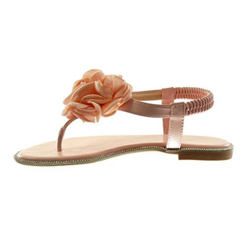 Angkorly Zapatillas Moda Sandalias Chanclas Correa Slip-On Correa de Tobillo Mujer Flores Strass Tacón Ancho 1.5 cm Rosa