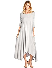 Solid 3/4 Sleeve Pocket Loose Maxi Dress (S-3X) - Made in...