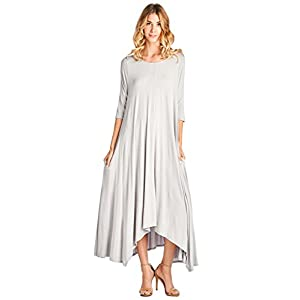 12 Ami Solid 3/4 Sleeve Pocket Loose Maxi Dress (S-3X) – Made in USA
