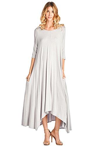 12 Ami Solid 3/4 Sleeve Pocket Loose Maxi Dress Silver L ()