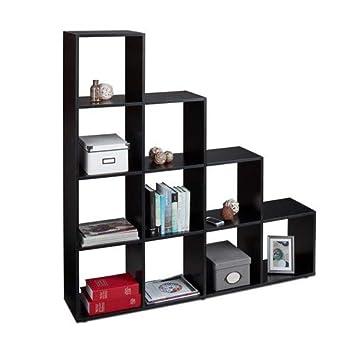 Relaxdays Etagere Escalier 10 Compartiments Bibliotheque Escalier Armoire Separateur Piece Noir