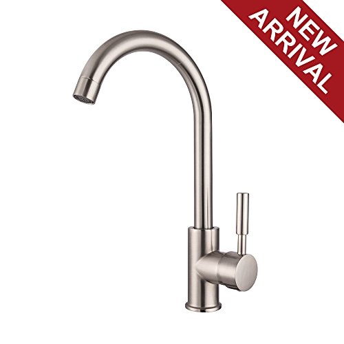 LORDEAR Best Modern 360 Degree Swivel Stainless Steel Single Lever One Hole Brushed Nickel Bar Sink Faucet, Cold Hot Mixer Kitchen Sink Faucet