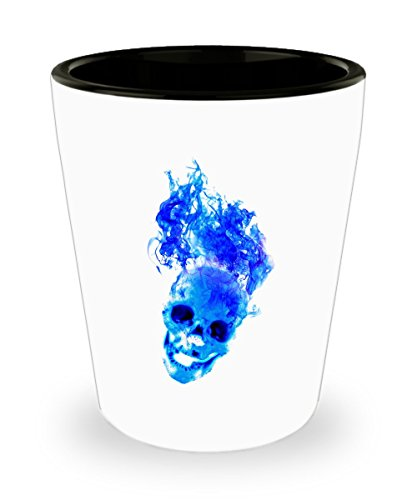Blue flaming Skull Shot Glass - halloween -