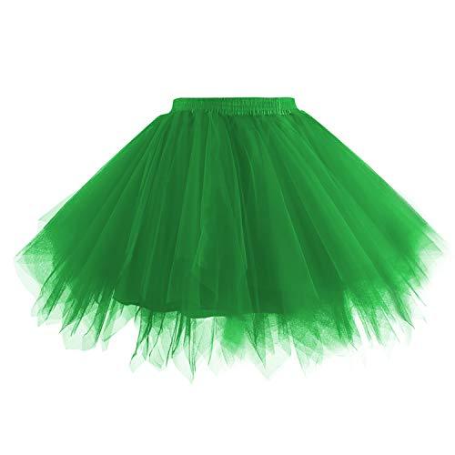Hanpceirs Women 1950s Short Vintage Tulle Petticoat Skirt Ballet Bubble Tutu Green M