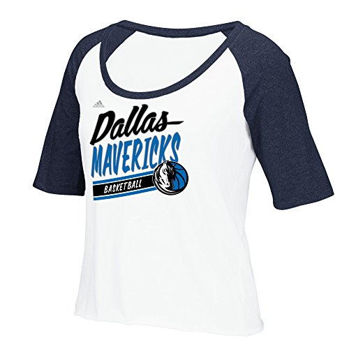 NBA Dallas Mavericks Women's Stripe Slant Short Sleeve Color Block Tee, Small, White