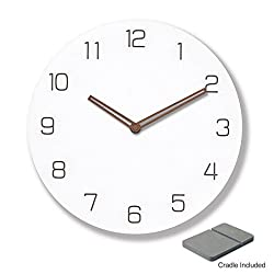9 inch silent non-ticking wall clock made of natural and engineered wood also doubles as desk & shelf clock with cradle (Straight Hands)