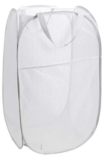 Mesh Popup Laundry Hamper - Portable, Durable Handles, Collapsible for Storage and Easy to Open. Folding Pop-Up Clothes Hampers Are Great for the Kids Room, College Dorm or Travel. (White) (Hamper White)