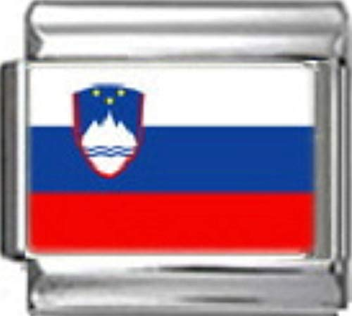 - Stylysh Charms Slovenia Slovenian Flag Photo Italian 9mm Link PC160
