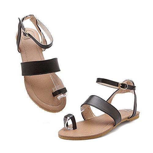 Toe Women's WeiPoot Solid EGHLH004678 Heel Sandals No Buckle Pu Split Black 6qAqB