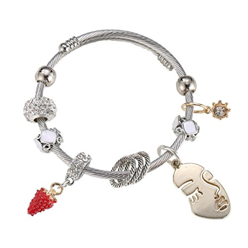 Swyss Rhinestones Alloy Beaded Bracelet Strawberry,Face Pendant Personality Chic Jewelry For Women Hot (White)