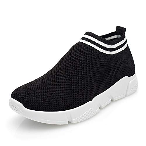 DRKA Women's Athletic Mesh Walking Shoes, Lightweight and Breathable Slip-on Sneakers(18936-black-42)