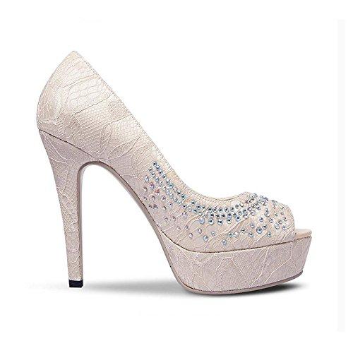 JIANXIN Frauen Frühjahr Frühjahr Frühjahr Und Sommer Stil Einzelne Schuhe Und Frauen Sexy Spitze Fisch-Mund Schuhe Wasserdicht Plattform Heels. (Farbe   Beige größe   EU 39 US 8 UK 6 JP 25cm) 9421f7