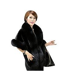 Rushine Women's Faux Fur Coat Wedding Cloak Cape Shawl for Evening Party