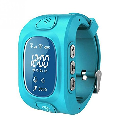 Camonity GPS/GSM/GPRS Triple Positioning Tracker Watch for Kids Children Smart Watch with SOS Position Safety Monitor Anti-lost Locator Tracker (Blue) by Camonity