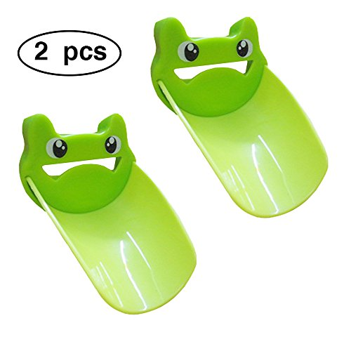 2PCS Faucet Extender Sink for Kids, Bathroom Extension Spout Baby Accessories, Child Helper Faucets Handle Hose Adapter easy Assembly for Kitchen - Watch & Teach toddler Safe Washing (Green) by coffled