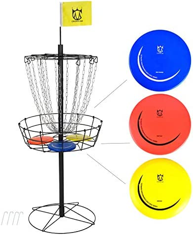 CROWN ME Disc Golf Basket Target Include 3 Discs, 18-Chain Portable Metal Golf Goals Baskets