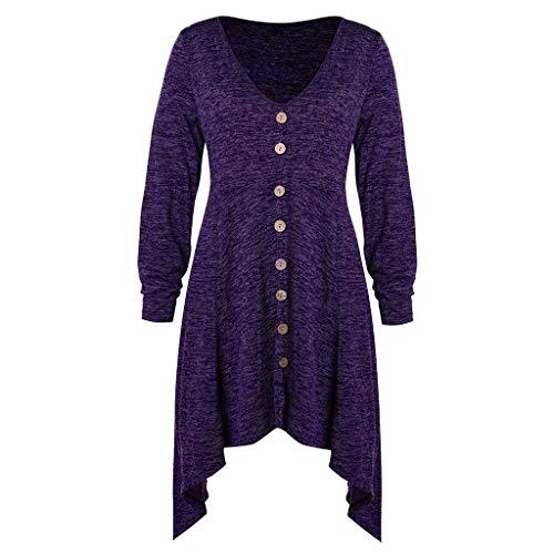 (Fashion Women Plus Size Button Asymmetrical Space Dyed V-Neck Long T-shirt Tops)