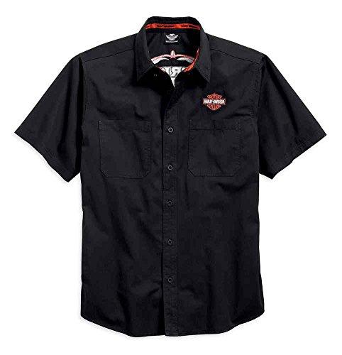 Harley-Davidson Mens Pinstripe Flames Button Woven Shirt, Black 99049-16VM (3XL)