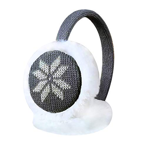 More Luck Women Girls Winter Warm Knitted Snowflake/Deer Pattern Soft Faux Fur Plush Earmuffs Adjustable