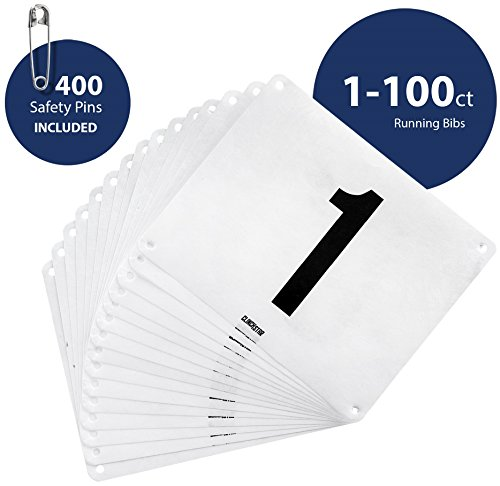 Number Race Game - Clinch Star Running Bib Large Numbers with Safety Pins for Marathon Races and Events - Tyvek Tearproof and Waterproof 6 X 7.5 Inches By (Numbers 1-100)