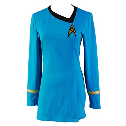 Fangcos Star Trek The Female Duty Uniform TOS Dress Blue Costume,Medium (Star Trek Costume Dress)