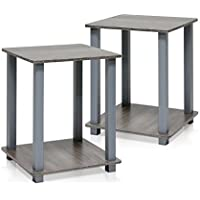 End Table Grey In Premium Square Zen Modern Design As Night Stand Or In Living Room No Tools Assembly - Set of 2