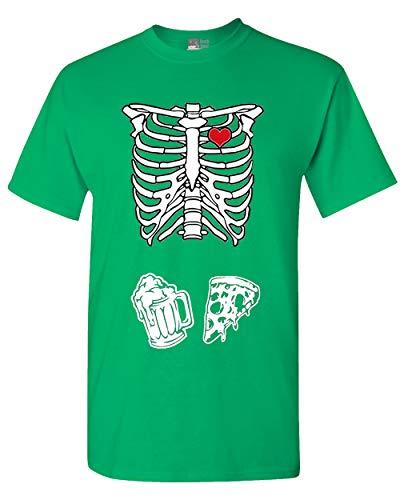 Skeleton Pizza & Beer Adult T-Shirt Tee (XXX Large, Irish Green)