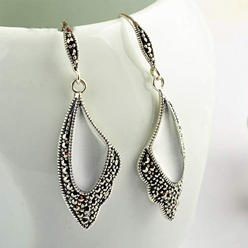 Vintage Natural Agate/White Cat's Eye Butterfly Wing Drop Earrings Solid 925 Sterling Silver Earring for Women Jewelry-in Earrings from Jewelry & Accessories